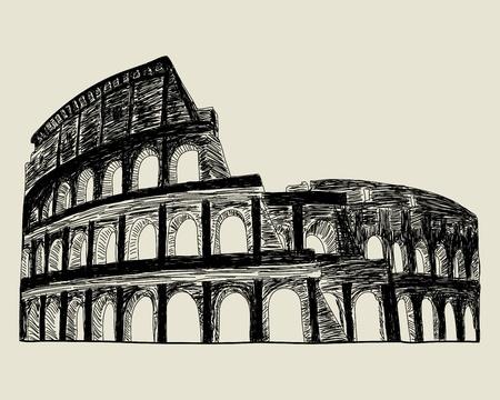 colosseo: Colosseo. illustrazione schizzo per l'utilizzo del design. Vettoriali