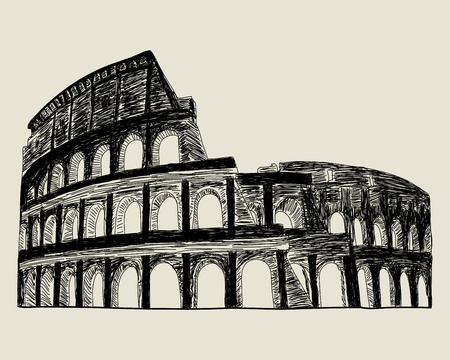 ancient rome: Roman coliseum. sketch illustration for design use.  Illustration