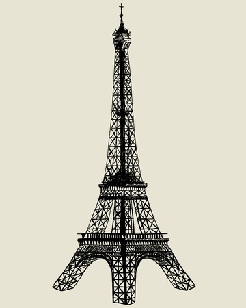 tower tall: Eiffel tower. sketch illustration for design use.