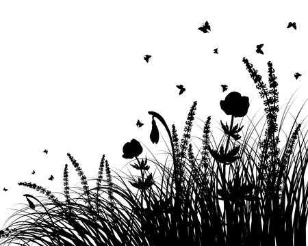 grass silhouettes background. All objects are separated.