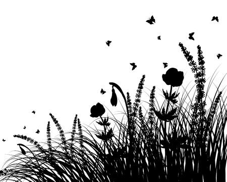 illustration herbe: l'herbe silhouettes arri�re-plan. Tous les objets sont s�par�s.