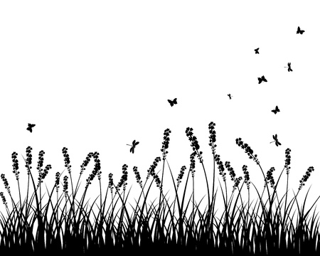 grass silhouettes background. All objects are separated. Stock Vector - 10960217