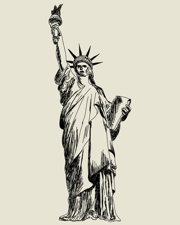 Statue of Liberty. sketch illustration for design use.  Vector