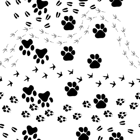 animal foot: Animal footprint seamless pattern.  For easy making seamless pattern just drag all group into swatches bar, and use it for filling any contours.