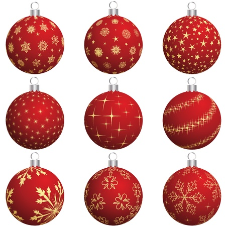 Set of Christmas (New Year) balls for design use.  Illustration