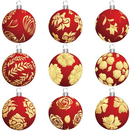seasonal symbol: Conjunto de la Navidad (A�o Nuevo) bolas para el uso del dise�o.