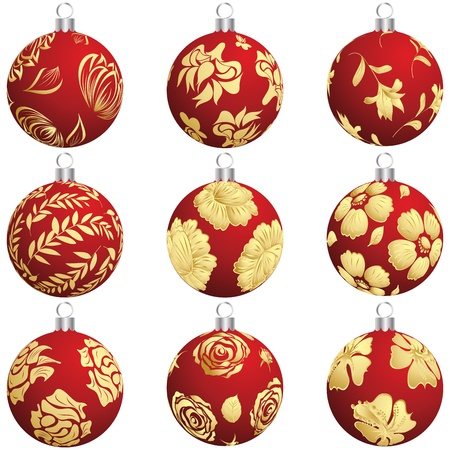 seasonal symbol: Set of Christmas (New Year) balls for design use.