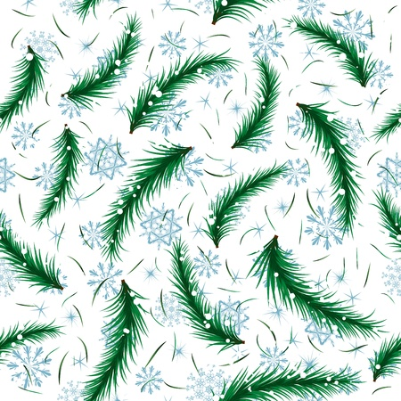 Winter snowflake and fir brunch seamless pattern. For easy making seamless pattern just drag all group into swatches bar, and use it for filling any contours.  Vector