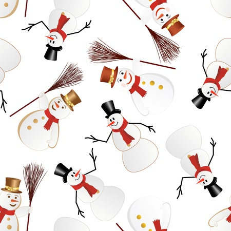 Snowman seamless pattern. For easy making seamless pattern just drag all group into swatches bar, and use it for filling any contours.  Vector