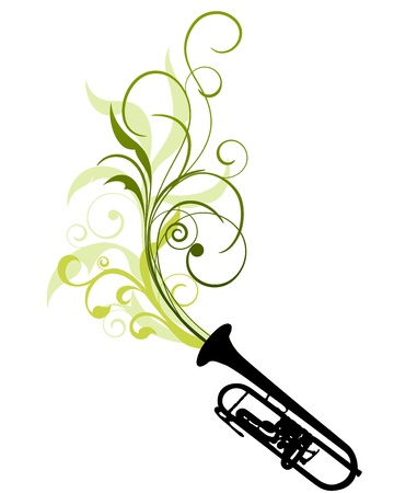 Wind instrument with Floral border for design use. Stock Vector - 11072621