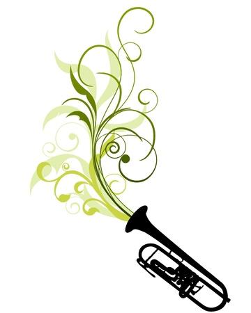 leaf curl: Wind instrument with Floral border for design use.