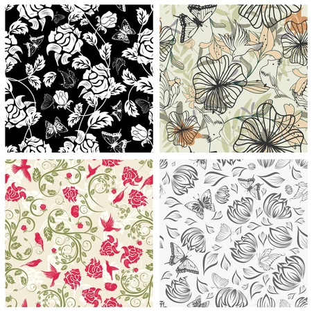 sketch pattern: Patr�n floral sin fisuras. Para facilitar la creaci�n de patrones sin fisuras s�lo tienes que arrastrar todo el grupo en la barra de muestras y utilizarlo para llenar cualquier contornos.