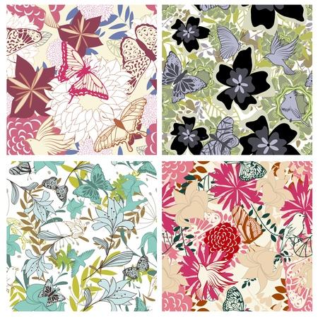 swatches: Seamless floral pattern. For easy making seamless pattern just drag all group into swatches bar, and use it for filling any contours.