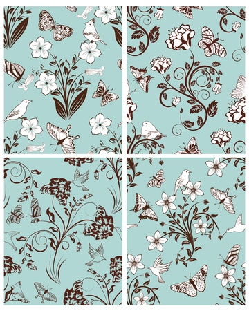 Seamless floral pattern. For easy making seamless pattern just drag all group into swatches bar, and use it for filling any contours. Stock Vector - 11072615