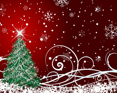 fir tree red: Beautiful Christmas (New Year) card for design use