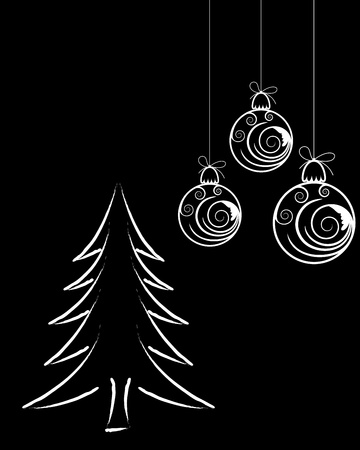 fir tree balls: Beautiful Christmas (New Year) card for design use