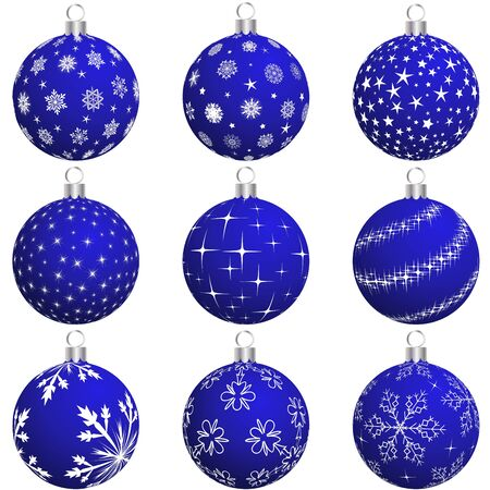 golden years series: Set of Christmas (New Year) balls for design use. illustration.