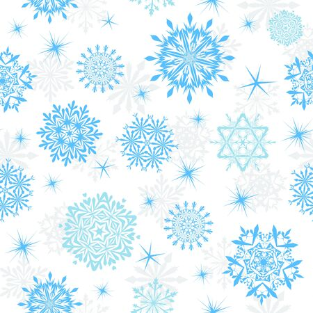 snow crystals: Seamless snowflakes background for winter and christmas theme