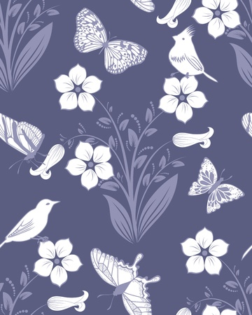 Seamless vector floral pattern. For easy making seamless pattern just drag all group into swatches bar, and use it for filling any contours. Stock Vector - 12008293