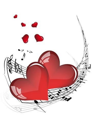 heart tone: Notas musicales de fondo vector para el uso personal de dise�o