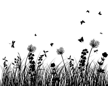 草のシルエット ベクトルの背景。すべてのオブジェクトが区切られます。  イラスト・ベクター素材