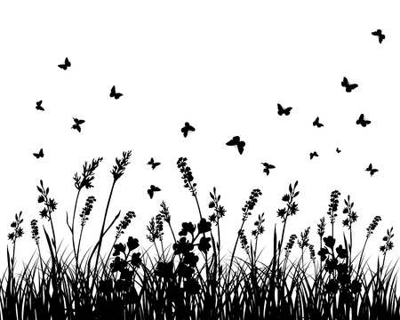Vector grass silhouettes background. All objects are separated. Stock Vector - 12008284