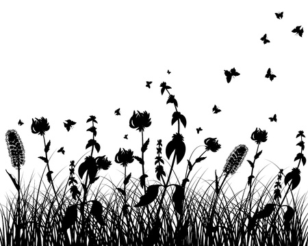 Vector grass silhouettes background. All objects are separated. Stock Vector - 12008286