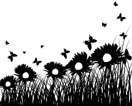 Vector grass silhouettes background. All objects are separated. Stock Vector - 12008285