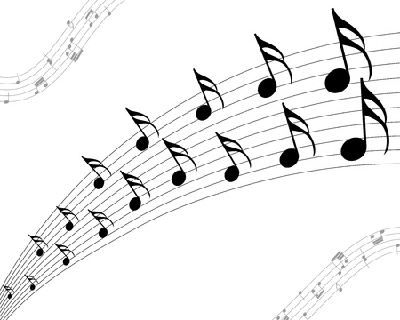 Vector musical notes staff background for design use Vector