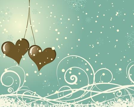 winter wallpaper: Abstract Valentine days background frame. Vector illustration. Illustration