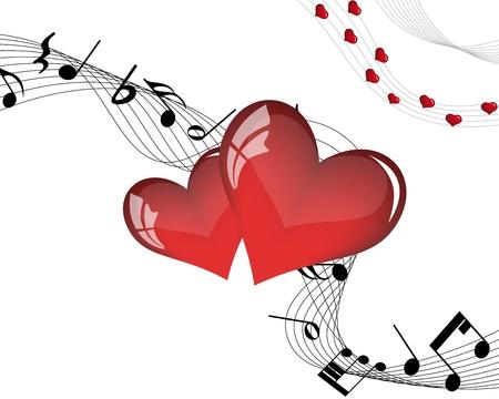 note musicale: Estratto giorno di San Valentino cornice di sfondo. Illustrazione vettoriale.