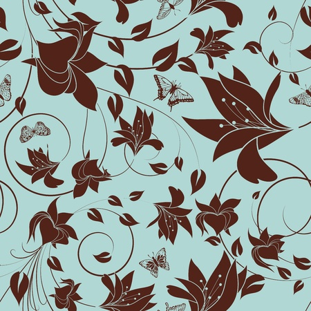 Seamless vector floral pattern. For easy making seamless pattern just drag all group into swatches bar, and use it for filling any contours. Stock Vector - 12493063
