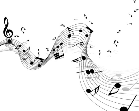 music dj: Vector musical notes staff background for design use Illustration
