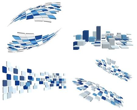 bloques: Resumen 3d comprobarse antecedentes comerciales para su uso en dise�o web Vectores