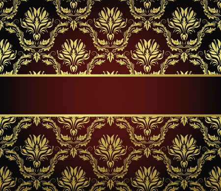 Damask seamless vector pattern with frame.  For easy making seamless pattern just drag all group into swatches bar, and use it for filling any contours. Vector