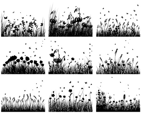 Nine vector grass silhouettes backgrounds. All objects are separated. Vector