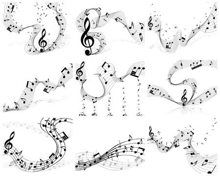 musical notes: Nine vector musical notes staff backgrounds for design use Illustration
