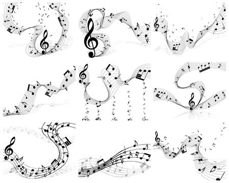 simbolos musicales: Nueve notas musicales del vector para el uso personal de fondos de dise�o