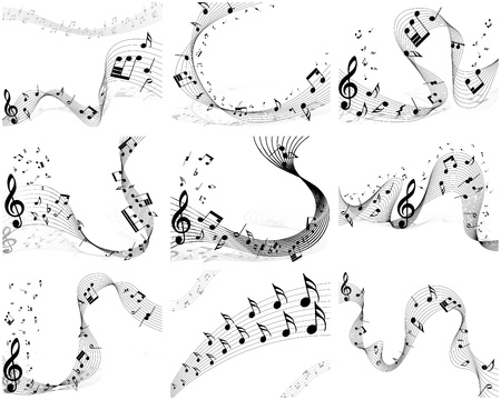 trill: Nine vector musical notes staff backgrounds for design use Illustration