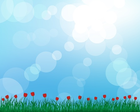 animal border: grass silhouettes with blurred background. All objects are separated. Illustration