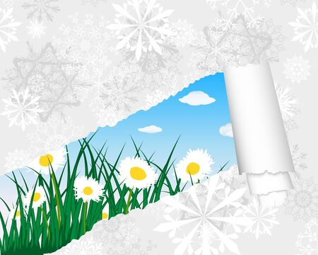 winter garden: grass silhouettes background with ripped stripe. All objects are separated. Illustration