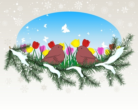 Winter background with oval window and grass silhouettes background. All objects are separated. Stock Vector - 13100747