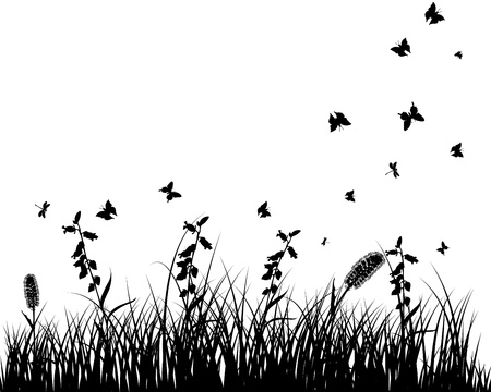 Vector grass silhouettes background. All objects are separated. Stock Vector - 13671656