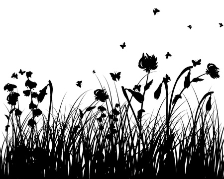 Vector grass silhouettes background. All objects are separated. Stock Vector - 13671648