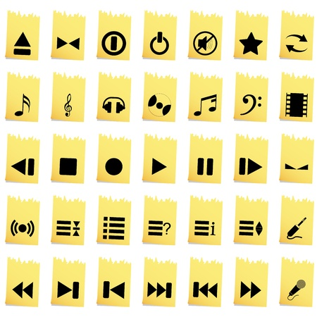 Vector collection of different music themes icons Stock Vector - 13671647