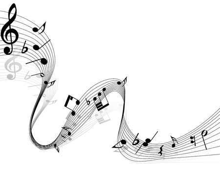 notes: Vector musical notes staff background for design use Illustration
