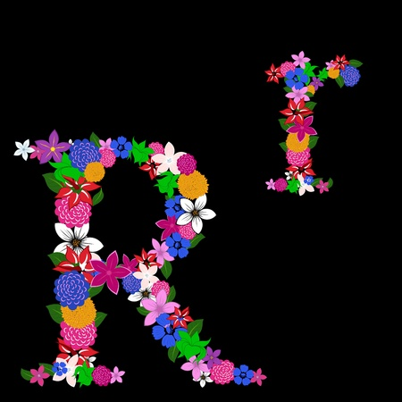Floral alphabet letter for using in web and print design. Vector illustration. Vector