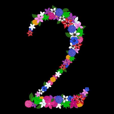 fresh flowers: Floral numeral for using in web and print design. Vector illustration.