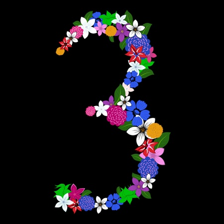 numerology: Floral numeral for using in web and print design. Vector illustration.