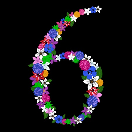 Floral numeral for using in web and print design. Vector illustration. Vector